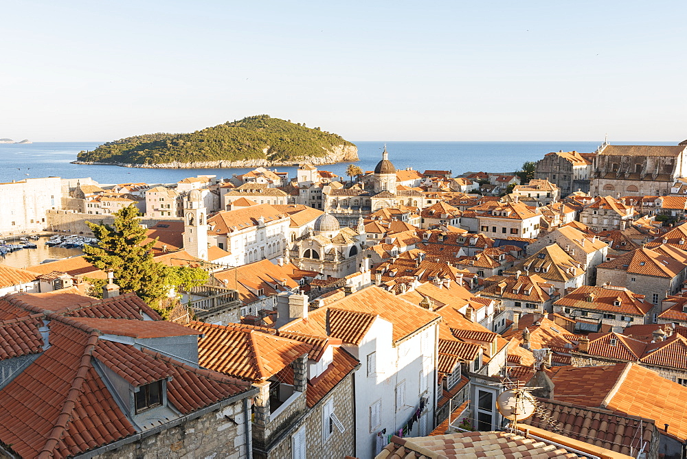 Views over Dubrovnik city skyline from City Walls, UNESCO World Heritage Site, Dubrovnik, Croatia, Europe - 848-1370