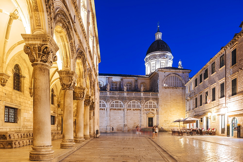 Old Town at night, UNESCO World Heritage Site, Dubrovnik, Croatia, Europe - 848-1373