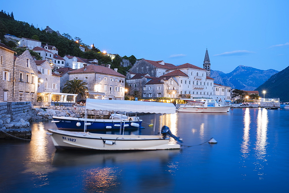 Perast at twilight, Bay of Kotor, UNESCO World Heritage Site, Montenegro, Europe
