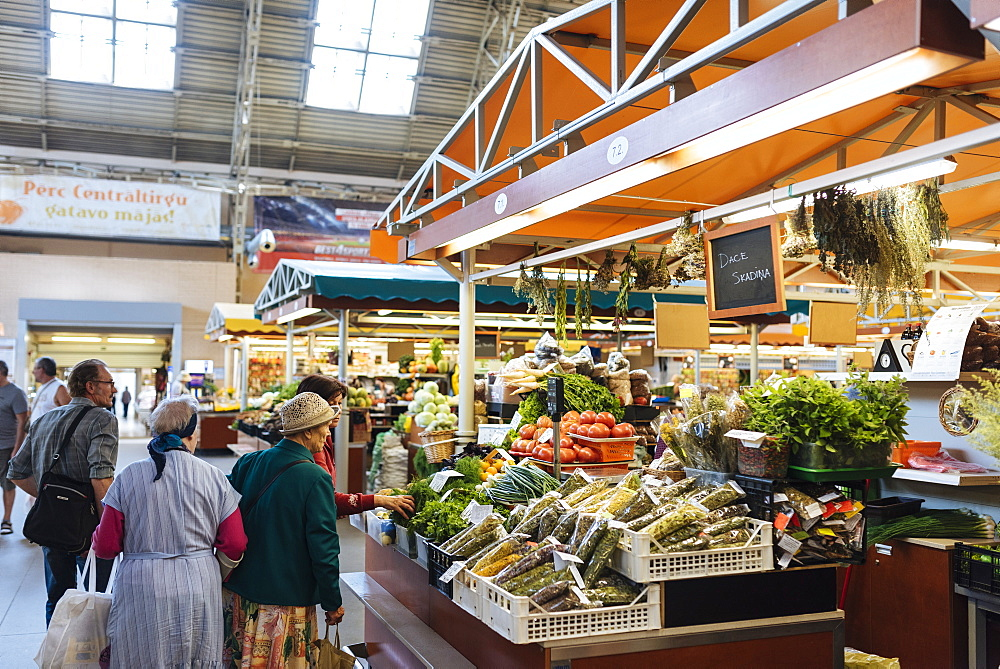 Interior of Riga Central Market, Riga, Latvia, Baltic States, Europe - 848-1418
