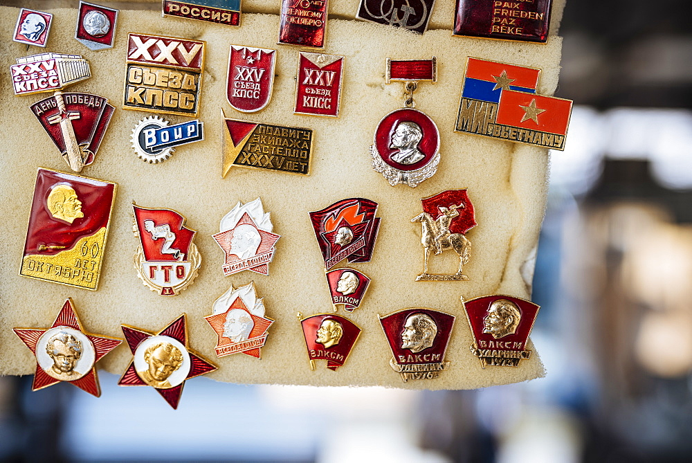 Souvenir Communist badges for sale, Riga Central Market, Riga, Latvia, Baltic States, Europe - 848-1425