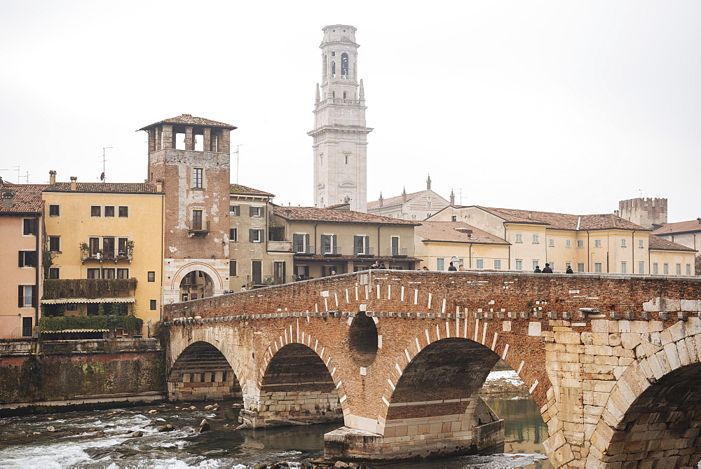 Ponte Pietra and Old Town of Verona, Veneto Province, Italy, Europe