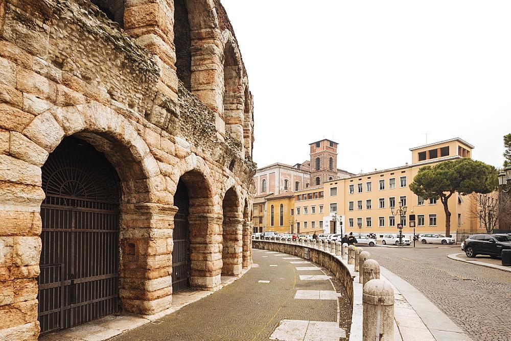 Piazza Bra, Roman Arena, Verona, Veneto Province, Italy, Europe