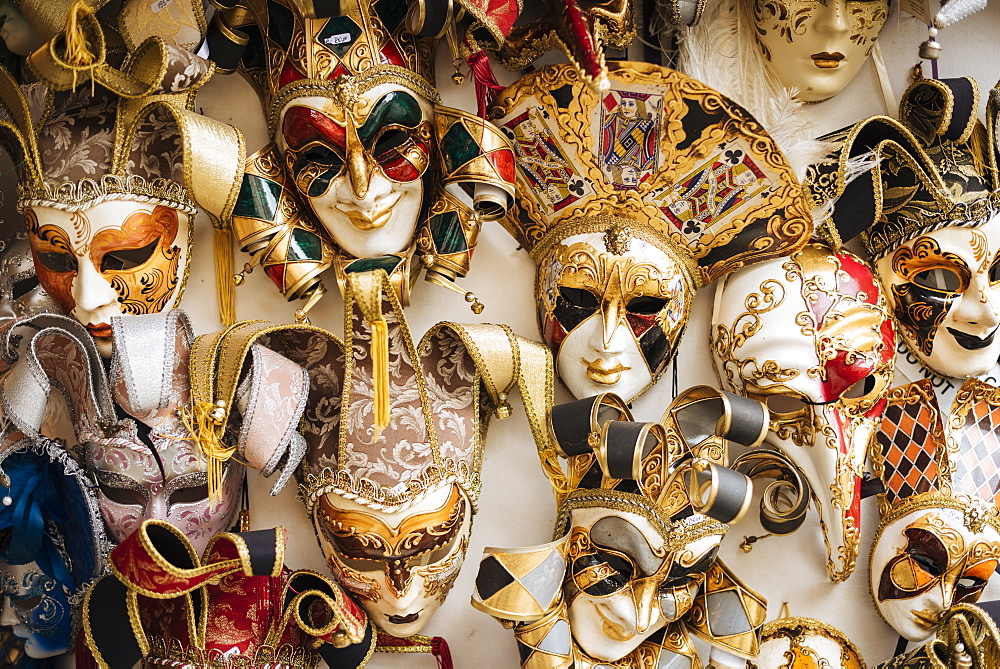 Venetian masks on display, Venice, Veneto Province, Italy, Europe