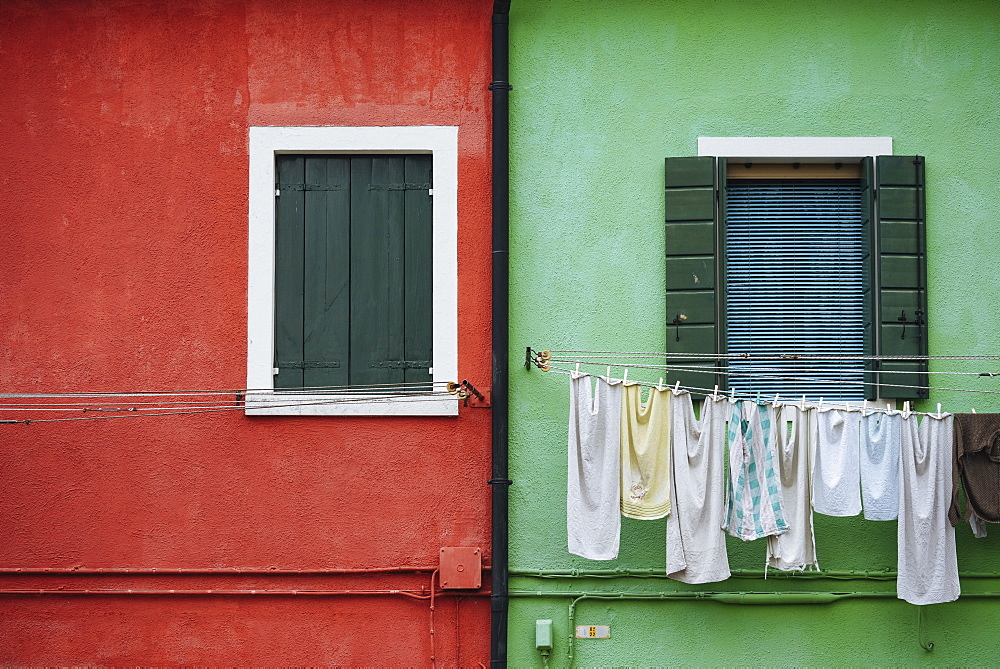 Exterior facades of colourful buildings, Burano, Venice, UNESCO World Heritage Site, Veneto Province, Italy, Europe