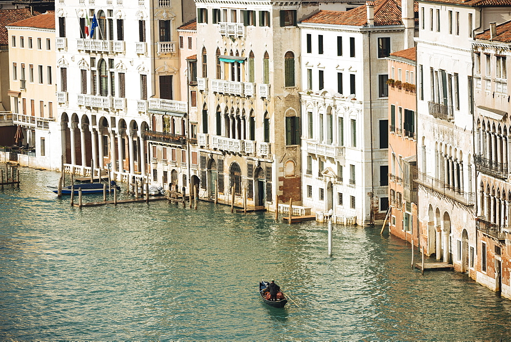 Gondola on Grand Canal, Venice, UNESCO World Heritage Site, Veneto Province, Italy, Europe