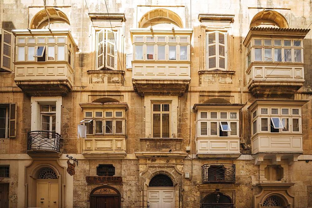 Traditional Maltese Balconies, Valletta, Malta, Europe