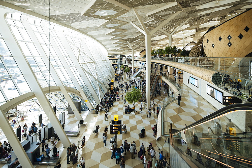 Interior of Heydar Aliyev International Airport, Baku, Azerbaijan, Central Asia, Asia