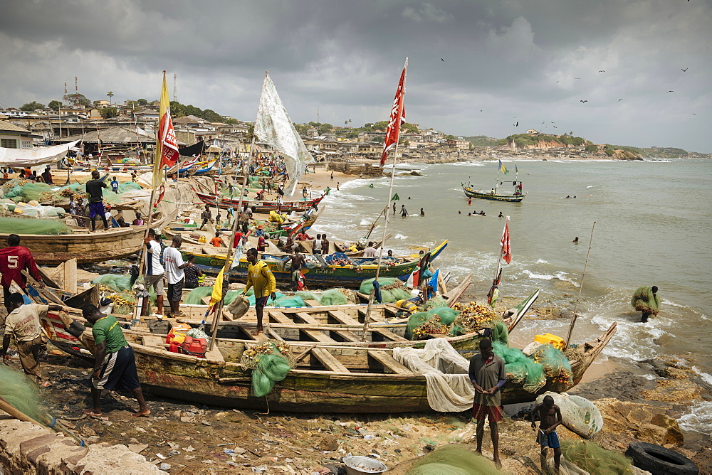 Fishermen outside Cape Coast Castle, Cape Coast, Ghana, Africa