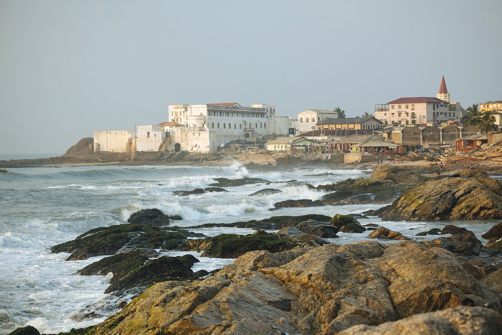 View of coast and Cape Coast Castle, Cape Coast, Ghana, Africa