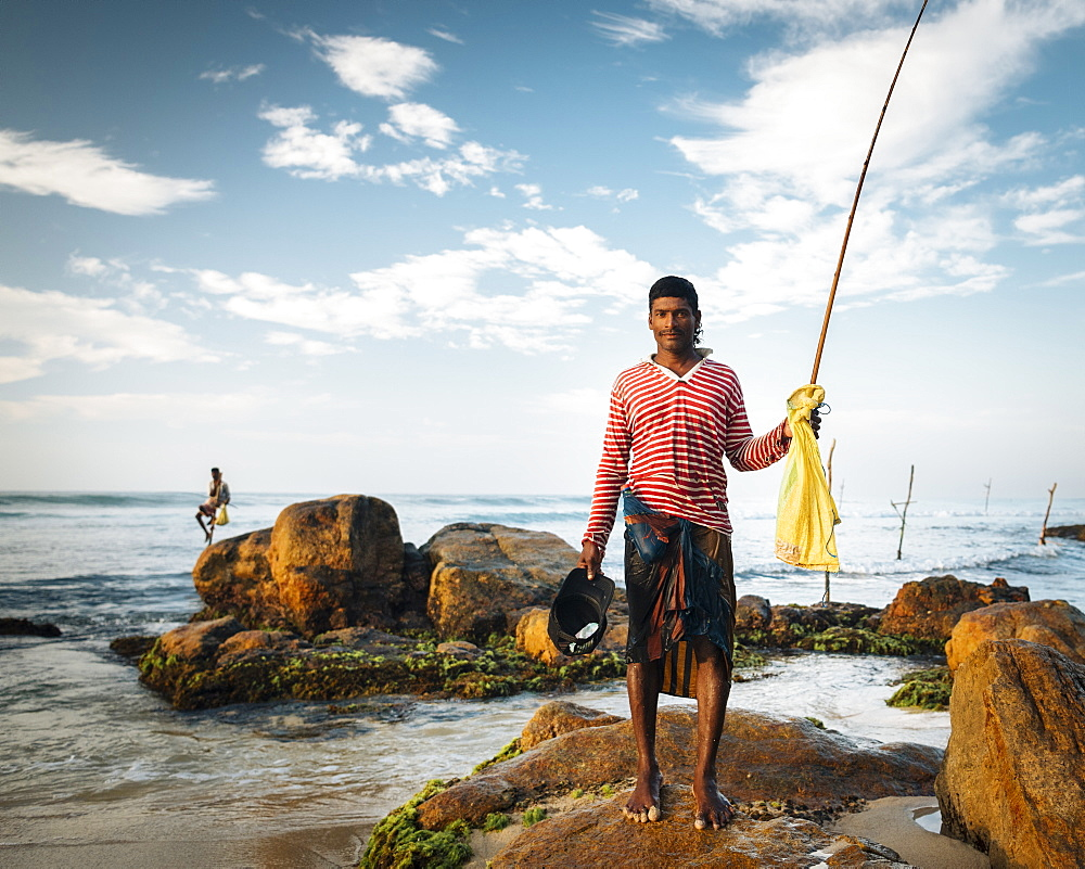 Portrait of Stilt Fisherman, Weligama, South Coast, Sri Lanka, Asia