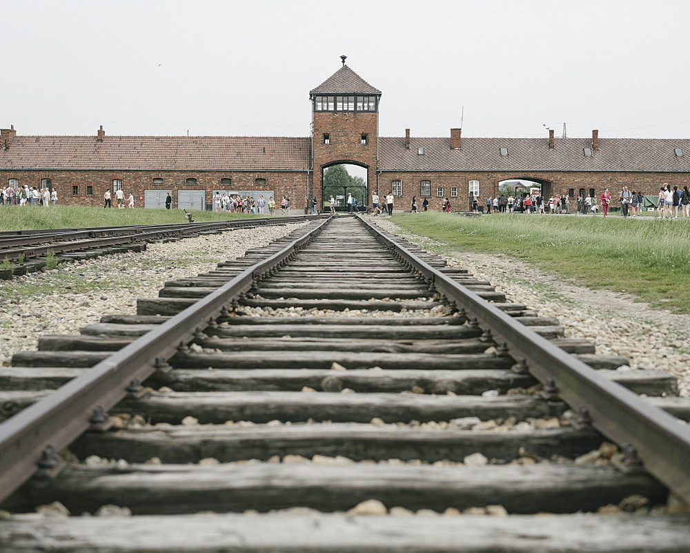 Railway tracks leading to the Birkenau Concentration Camp, UNESCO World Heritage Site, Auschwitz, Poland, Europe - 848-1942