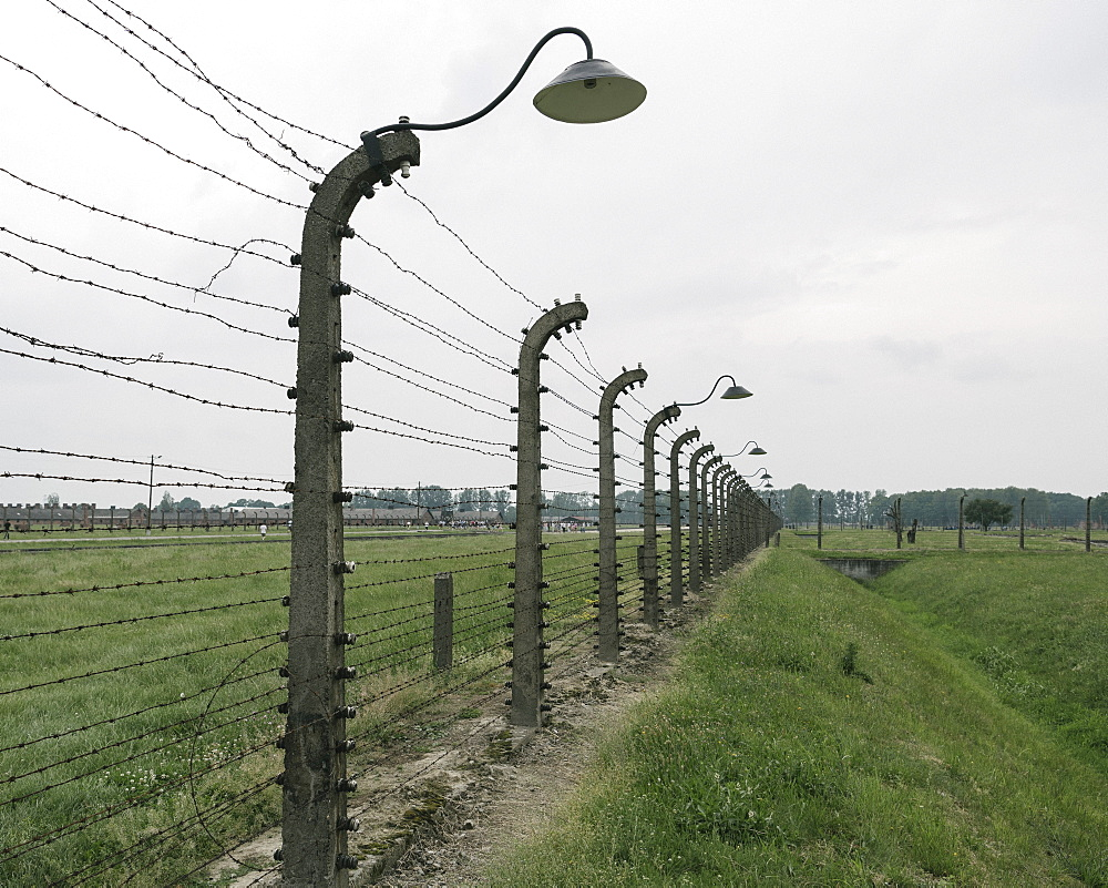 Barbed Wire Fence at The Birkenau concentration camp, UNESCO World Heritage Site, Auschwitz, Poland, Europe - 848-1945