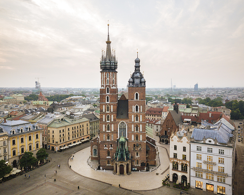 Aerial view of The Church of Saint Mary in Rynek Glowny (Market Square), UNESCO World Heritage Site, Krakow, Malopolskie, Poland, Europe