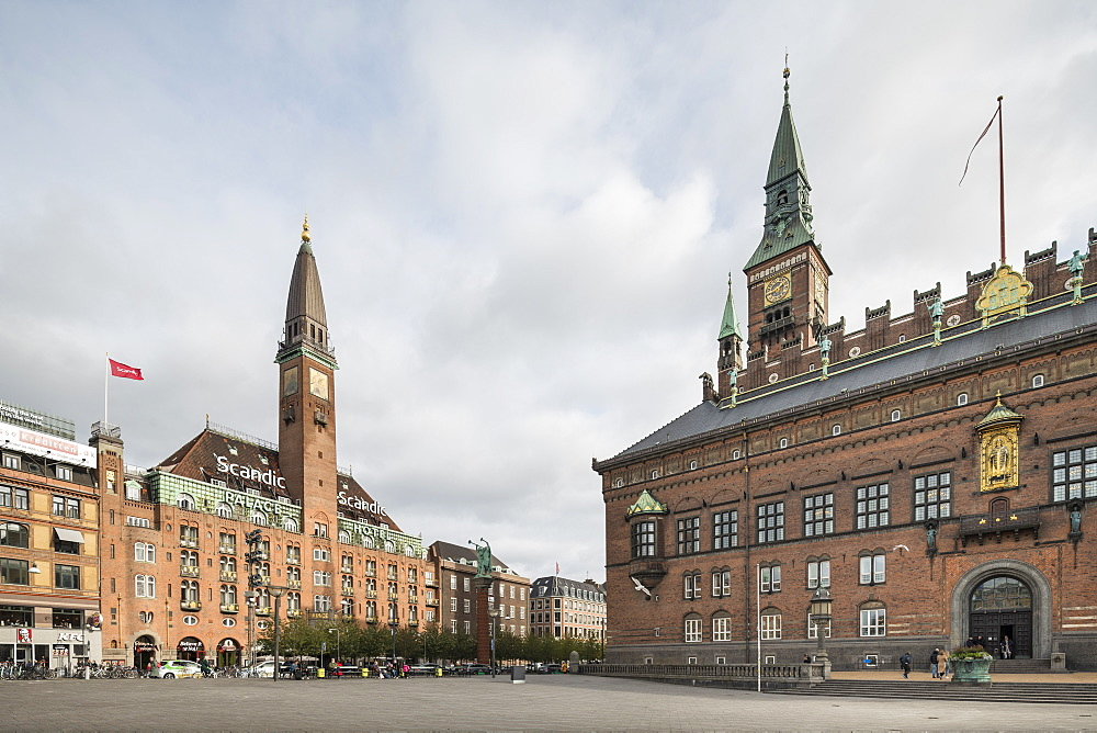 Exterior of Copenhagen City Hall and Scandic Palace Hotel, Copenhagen, Denmark, Scandinavia, Europe