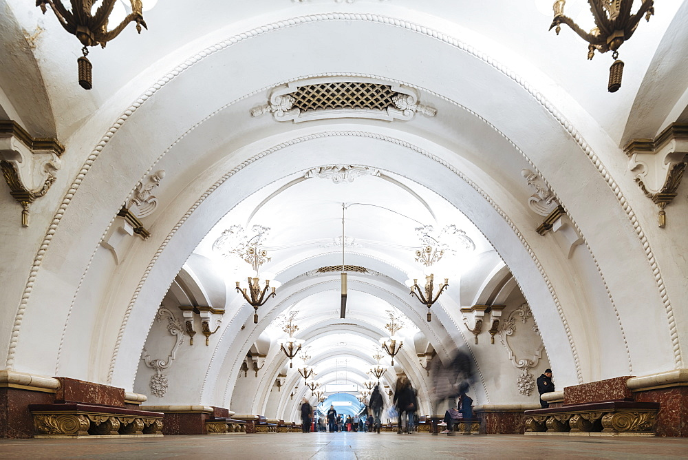 Interior of Arbatskaya Metro Station, Moscow, Moscow Oblast, Russia, Europe