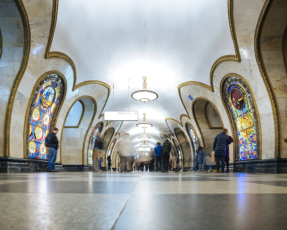 Interior of Novoslobodskaya Metro Station, Moscow, Moscow Oblast, Russia, Europe