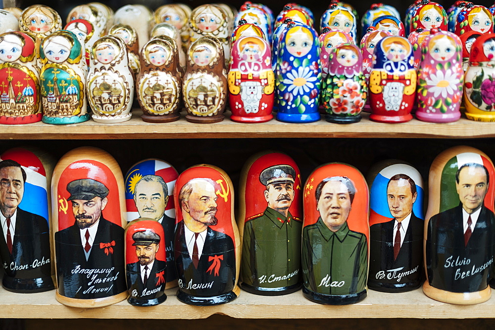Matryoshka dolls for sale in Izmaylovsky Bazaar, Moscow, Moscow Oblast, Russia, Europe