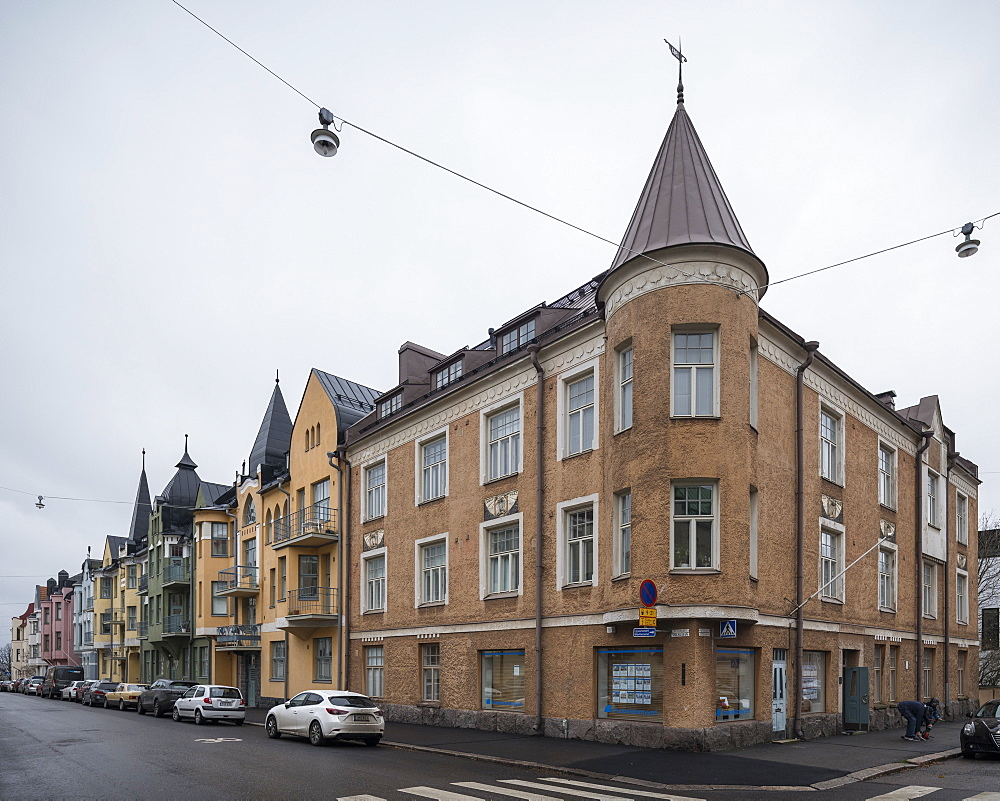 Houses on Huvilakatu Street, Helsinki, Finland, Europe