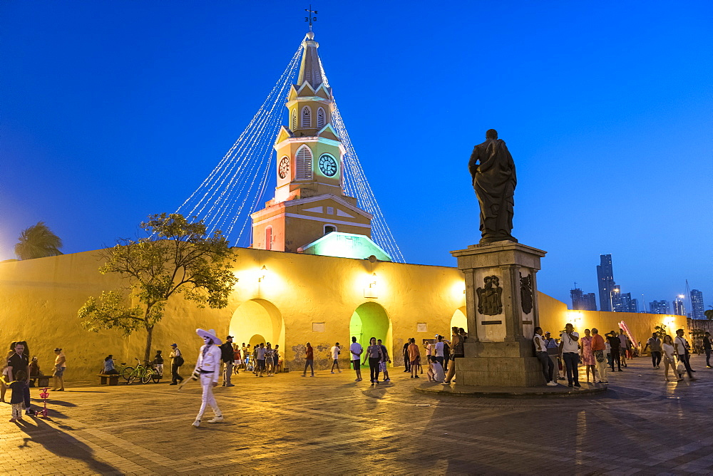 Clock Tower Monument at night, UNESCO World Heritage Site, Cartagena, Bolivar Department, Colombia, South America - 848-2105