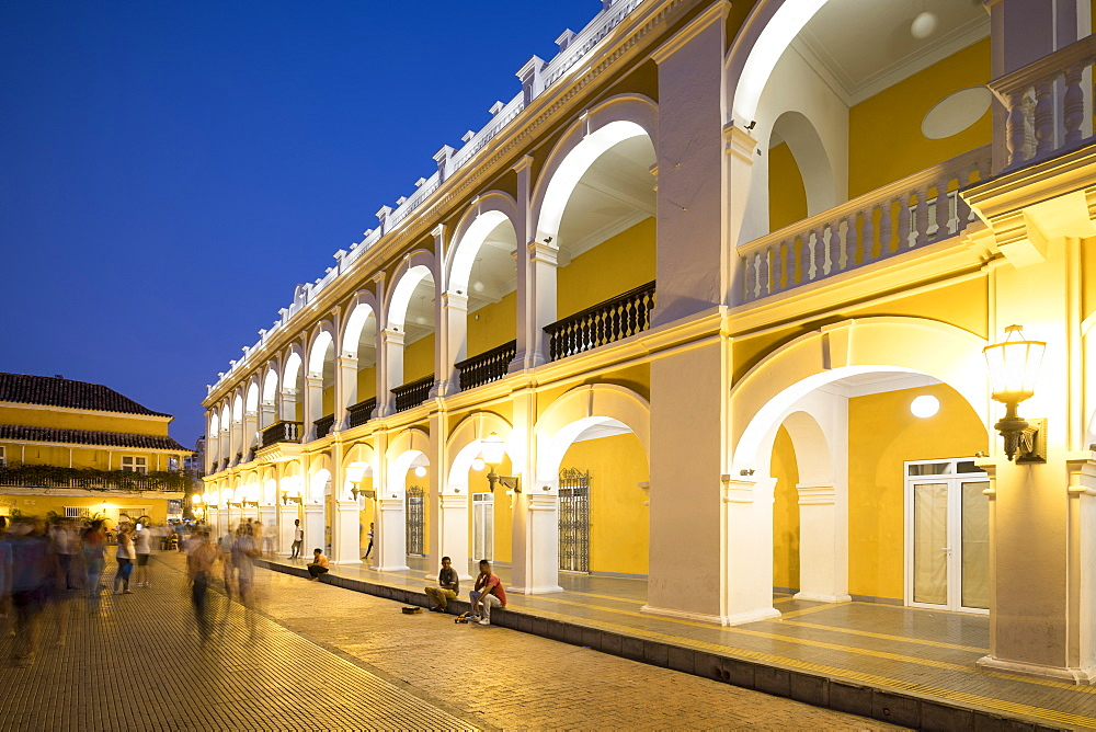 Colonial Architecture in the UNESCO World Heritage Site at Night, Old City, Cartagena, Bolívar Department, Colombia