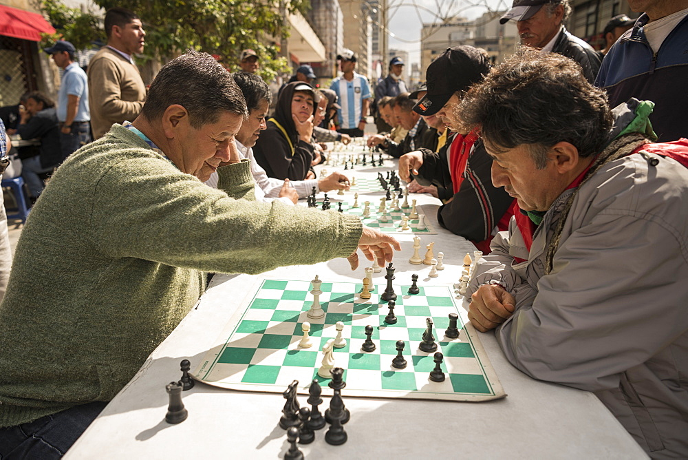 Men playing chess, La Candelaria, Bogota, Cundinamarca, Colombia, South America - 848-2144