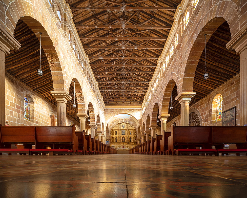 Interior of Cathedral of Barichara, Barichara, Santander, Colombia, South America