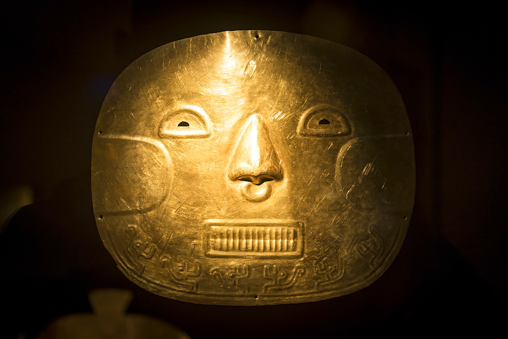 Funeral Mask Exhibit in The Gold Museum, Bogotá, Cundinamarca, Colombia, South America