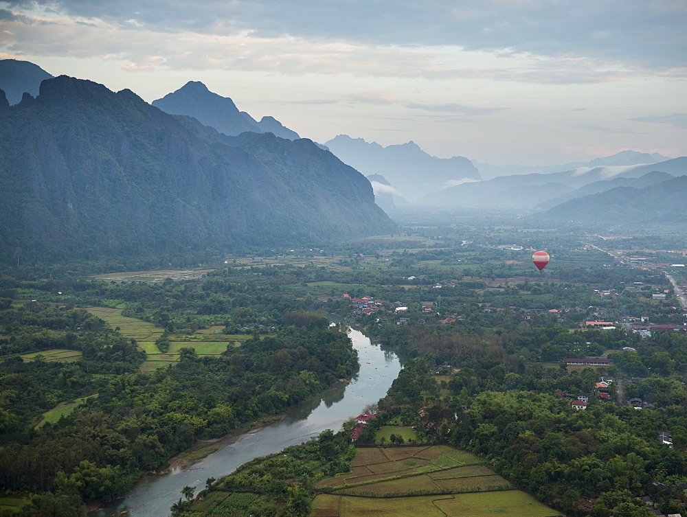 View from hot air balloon ride, Vang Vieng, Laos, Indochina, Southeast Asia, Asia