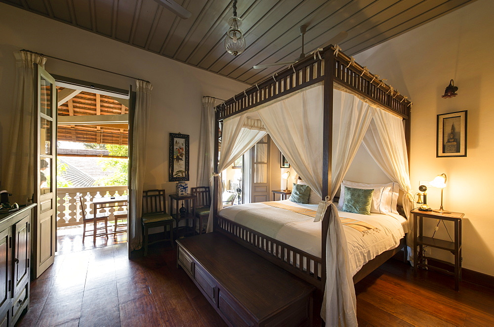 Interior of Satri House Hotel, Luang Prabang, Laos, Indochina, Southeast Asia, Asia
