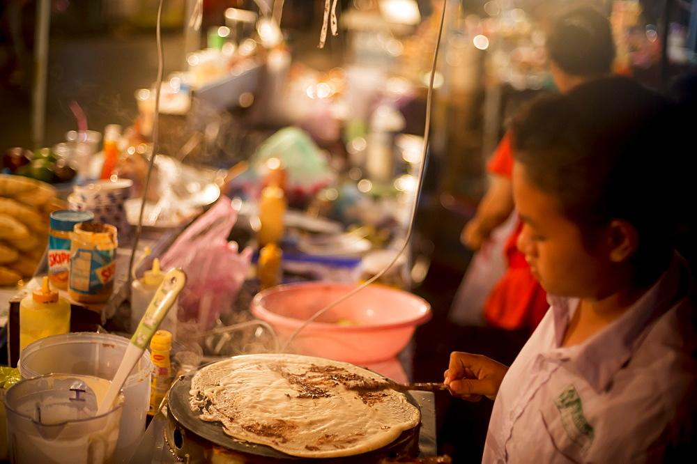 Pancake stall, Night Market, Luang Prabang, Laos, Indochina, Southeast Asia, Asia