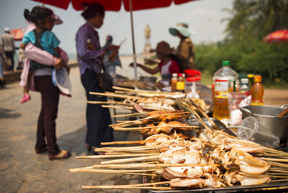 BBQ Stalls at Crab Market, Kep, Kep Province, Cambodia, Indochina, Southeast Asia, Asia