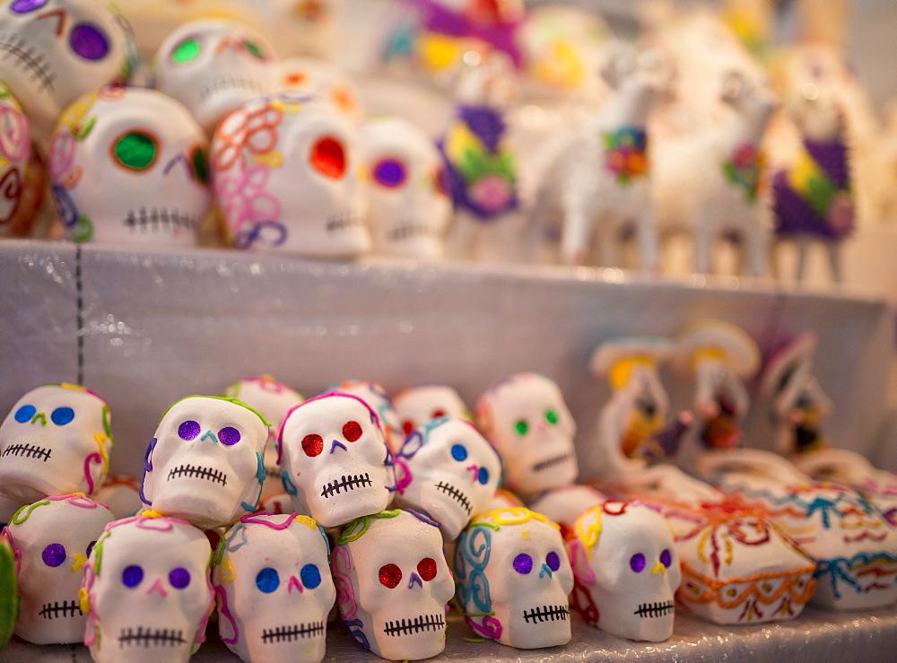 Dia de los Muertos (Day of the Dead)  souvenirs, San Miguel de Allende, Guanajuato, Mexico, North America - 848-661