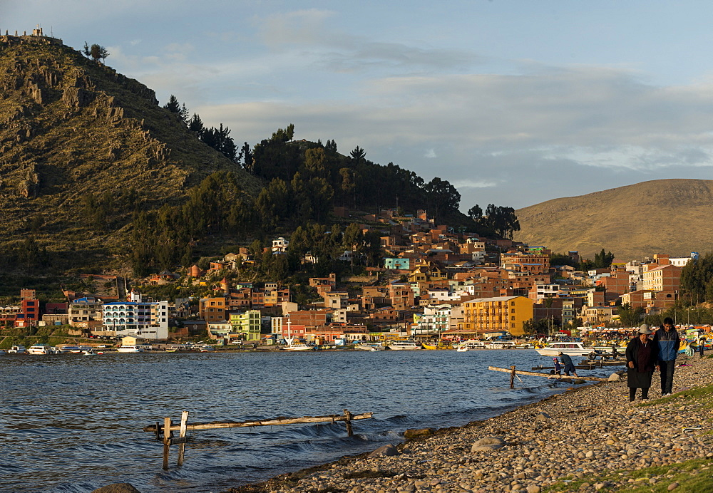 Copacabana Beach in the late afternoon, Lake Titicaca, Bolivia, South America