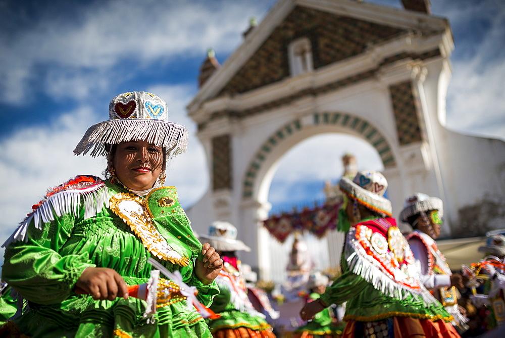 Dancers in traditional costume, Fiesta de la Virgen de la Candelaria, Copacabana, Lake Titicaca, Bolivia, South America