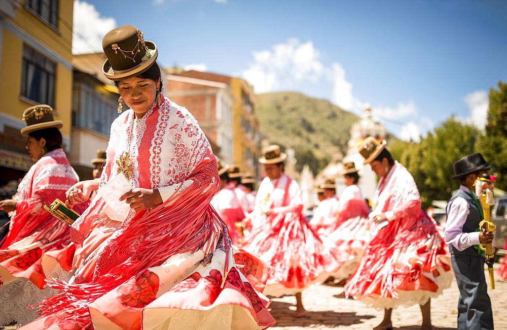 Dancers in traditional dress, Fiesta de la Virgen de la Candelaria, Copacabana, Lake Titicaca, Bolivia, South America - 848-730