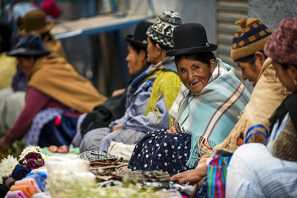 Local Market scene, Copacabana, Lake Titicaca, Bolivia, South America