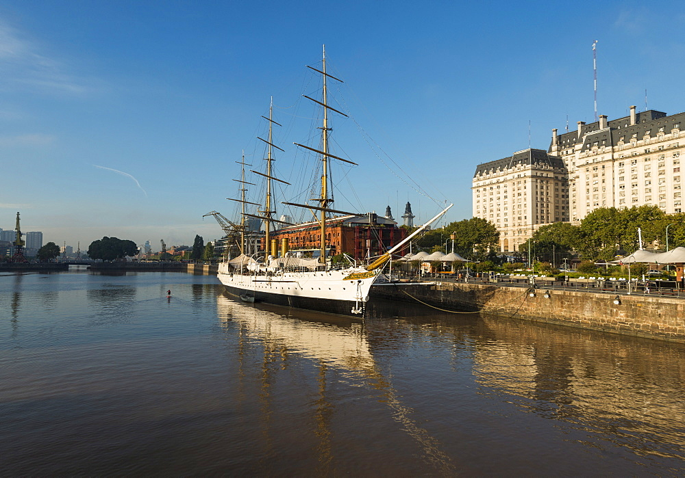 View from the Puente de la Mujer (Bridge of the Woman) of the Museo Fragata Sarmiento and river, Puerto Madero, Buenos Aires, Argentina, South America