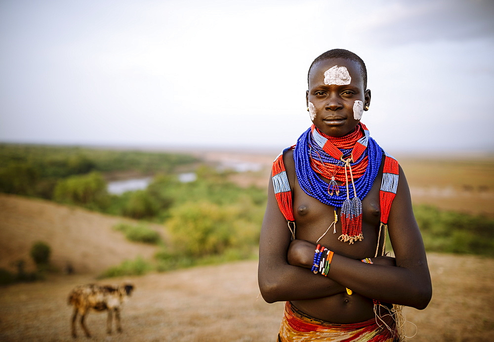Portrait of Warsha, Kara Tribe, Korcho Village, Omo Valley, Ethiopia, Africa