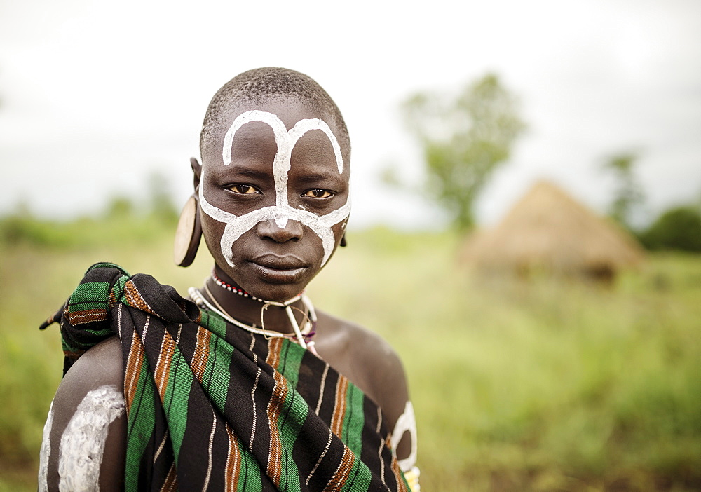 Portrait of Narugo, Mursi Tribe, Minisha Village, Omo Valley, Ethiopia, Africa