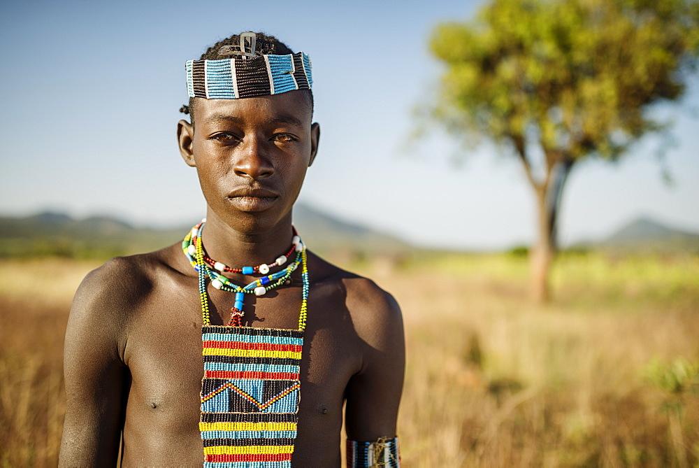 Portrait of Ari, Banna Tribe, Gargew Village, Omo Valley, Ethiopia, Africa