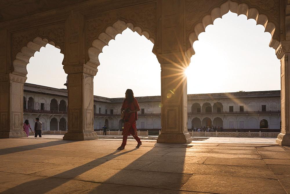 Agra Fort at sunset, UNESCO World Heritage Site, Agra, Uttar Pradesh, India, Asia