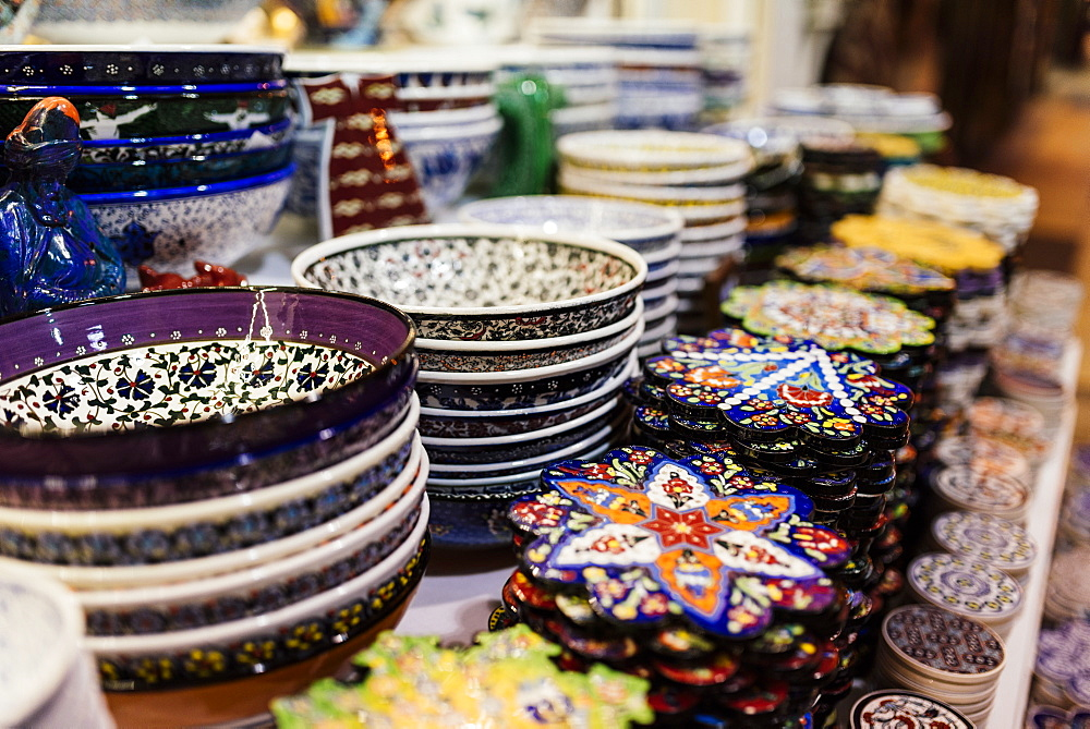 Products for sale, Grand Bazaar (Kapali Carsi), Istanbul, Turkey, Europe