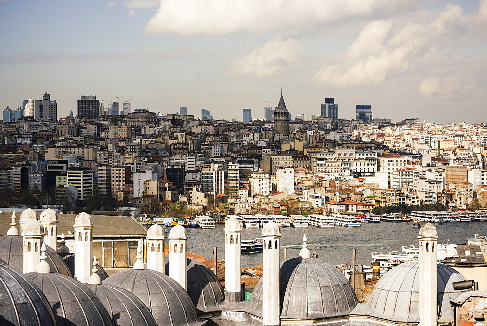 View of city skyline from Suleymaniye Mosque, Istanbul, Turkey, Europe