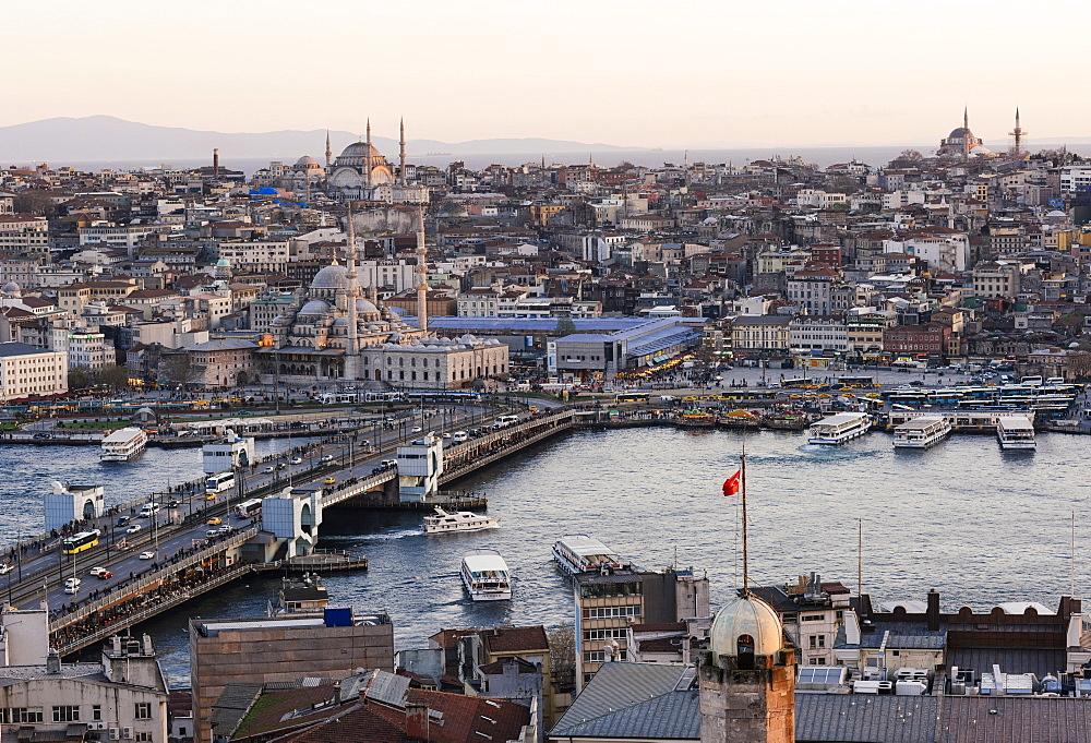 View over Istanbul skyline from The Galata Tower at sunset, Beyoglu, Istanbul, Turkey, Europe