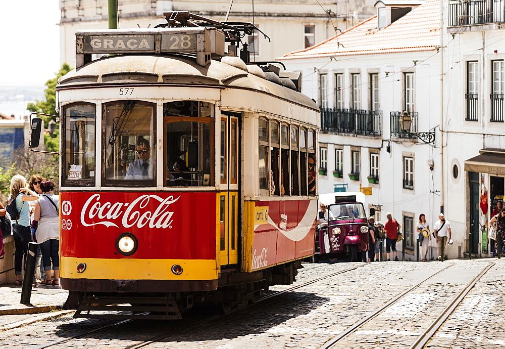 Tram, Portas do Sol, Lisbon, Portugal, Europe