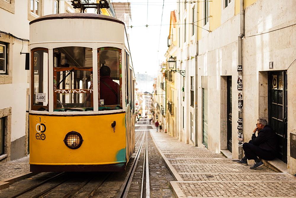Tram in Elevador da Bica, Lisbon, Portugal, Europe
