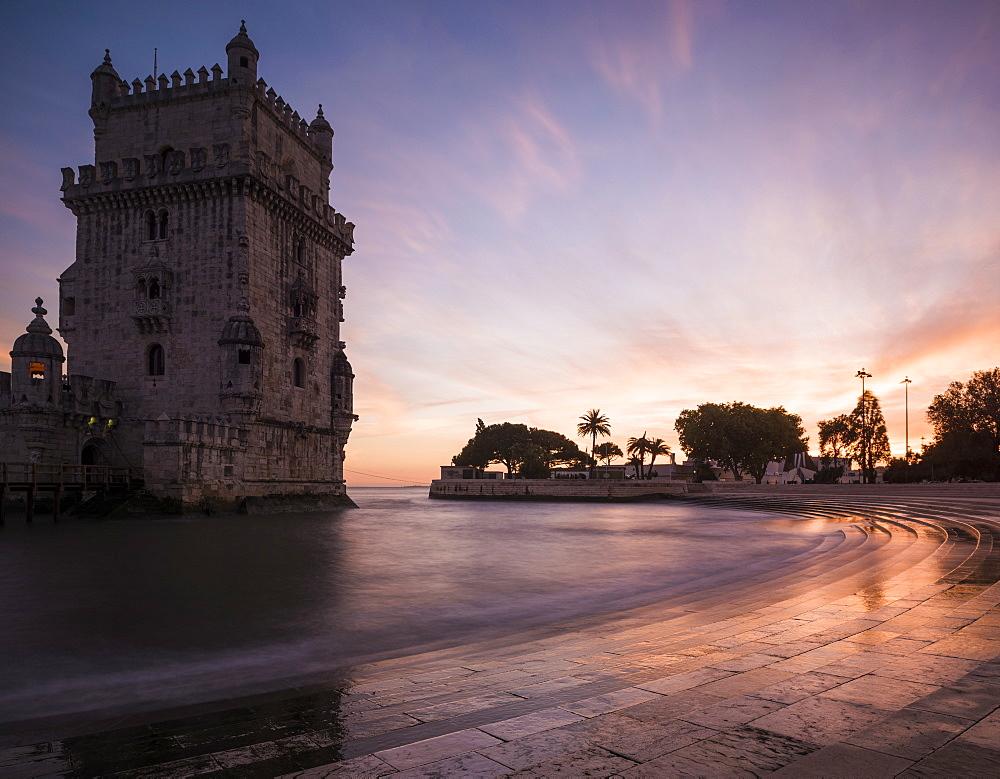 Belem Tower at dusk (Torre de Belem), UNESCO World Heritage Site, Lisbon, Portugal, Europe