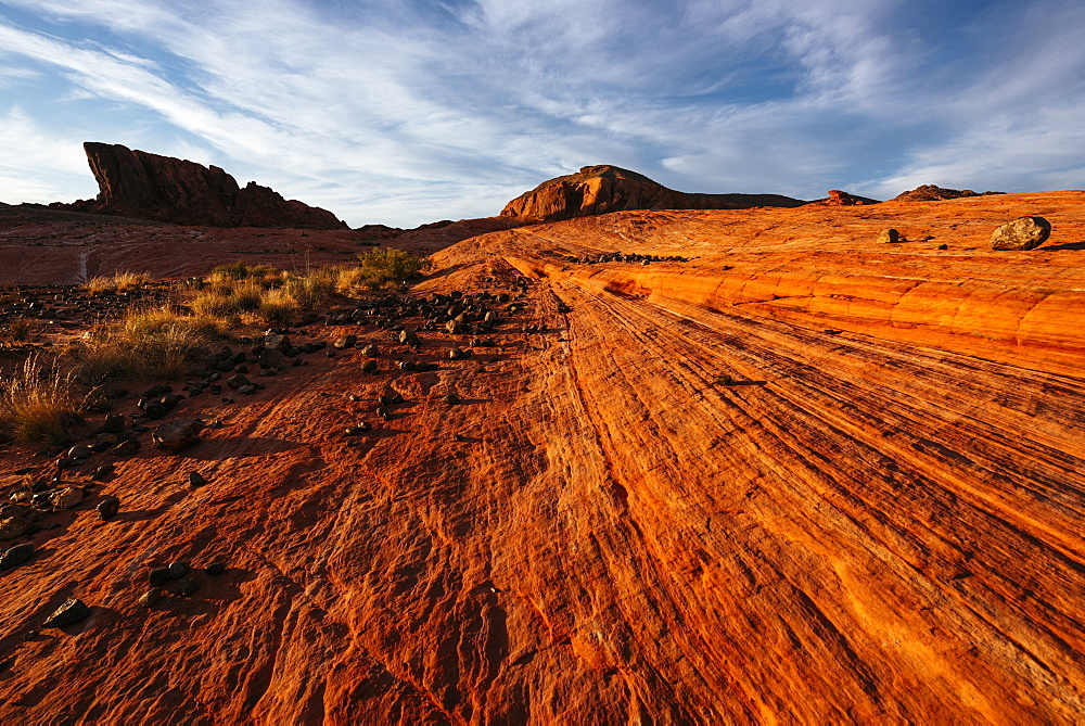 Geology at dusk in Valley of Fire State Park, Nevada, United States of America, North America