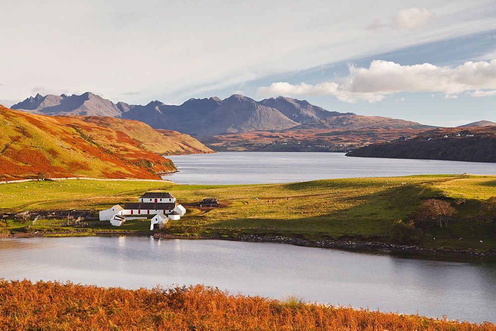 Loch Harport with the mountains of Glen Brittle behind, Highlands, Scotland, United Kingdom, Europe